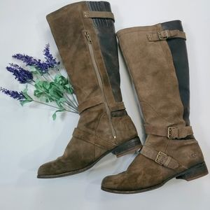 "Ugg ""Cyndee"" Distressed Suede Leather Riding Boots"